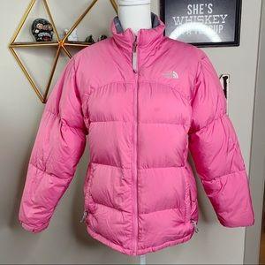 North Face Pink down fill full zip puffer coat